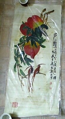 Vintage Chinese Bamboo Batik Painting Ink Watercolor Signed Scroll Birds Peaches
