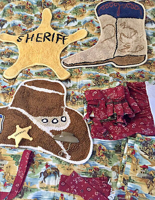 Vintage Cowboy Horse Bedroom Complete Set Bedding Curtains Rugs Wall Decor 19 Pc