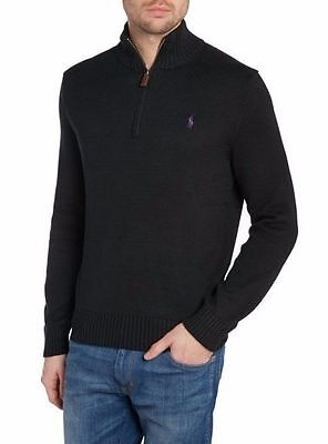 Polo RALPH LAUREN black MOCKNECK cotton HALF-ZIP jumper SWEATER shirt! NWT! M