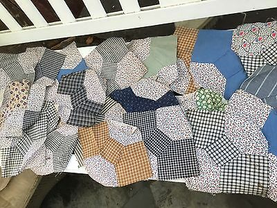 Lot Of 22 Vintage Bowtie Quilt Blocks Calico & Cotton Fabric Hand Pieced