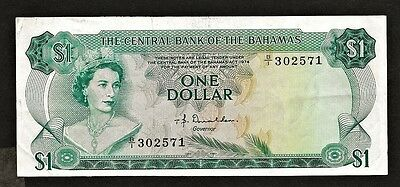 BAHAMAS 1 dollar 1974 P37a XF+ QE II / fish, coral, very high cat. value