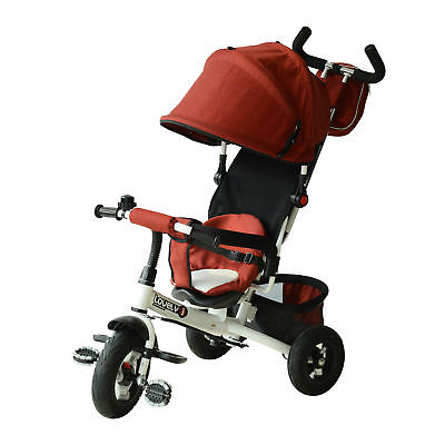 Qaba 4-in-1 Baby Tricycle & Stroller Kids Trike w/ Pushbar & Canopy Toddler Red