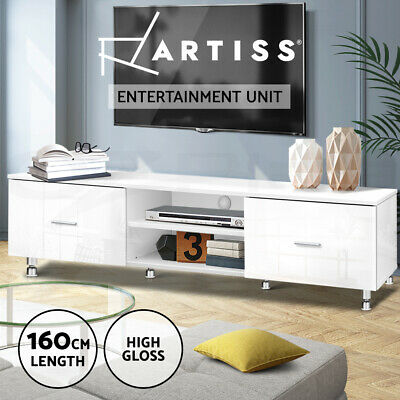 Artiss High Gloss TV Unit Stand Entertainment Lowline Home Cabinet Drawer White