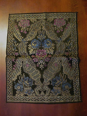 Vintage Antique European Tapesty Doily Mat~Black with Flowers & Scrolls