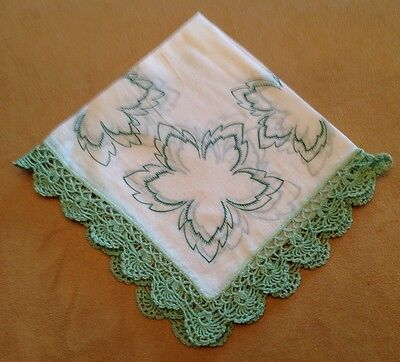Vintage Ladies Hanky, Handercheif, White With Green Leaves, Green Lace Edges