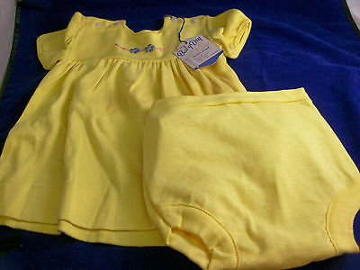 Vintage BABY DRY DRESS PLASTIC PANTY SET 18 MONTHS YELLOW WITH HANGTAG
