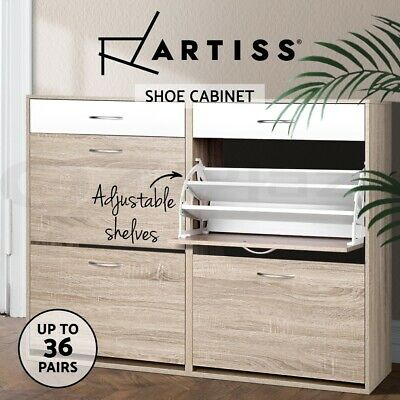 Artiss 36 Paris Wooden Shoe Cabinet Rack Storage Organiser Shelf Cupboard Drawer
