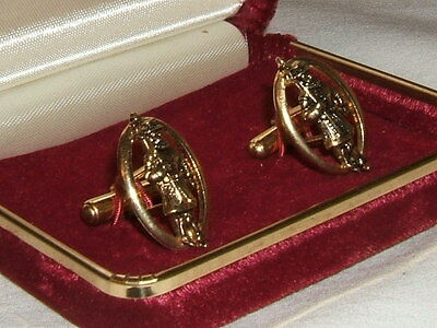 Vintage Whisky Whiskey - Beefeater Gin Jewelry Gold Tone Cuff Links In Box
