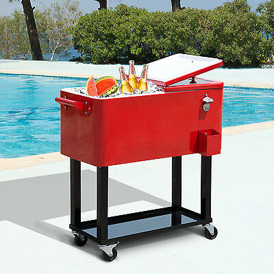 Outsunny 80 Quart Rolling Cooler Cart Portable Patio Ice Beer Beverage Cooling