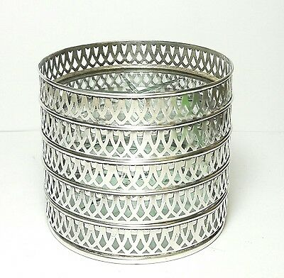 Vintage Set Of 5 Reticulated Sterling Silver & Cut Glass Star Pattern Coasters