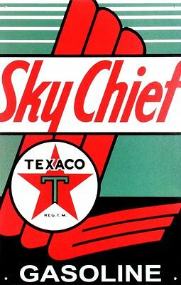"Texaco Gasoline Sky Chief Retro Vintage Tin Sign , 12.5"" X 16"""