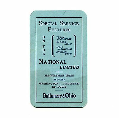 "Baltimore & Ohio:  ""the National Limited -- Special Service Features"" 1929 Bklet"