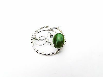 Vintage Solid Sterling Silver Chinese Jade Set Pin Brooch