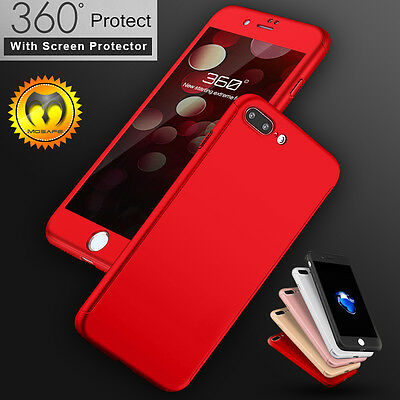 360° Full Hybrid Tempered Glass + Acrylic Hard Case Cover for iPhone 6 6S 7 Plus