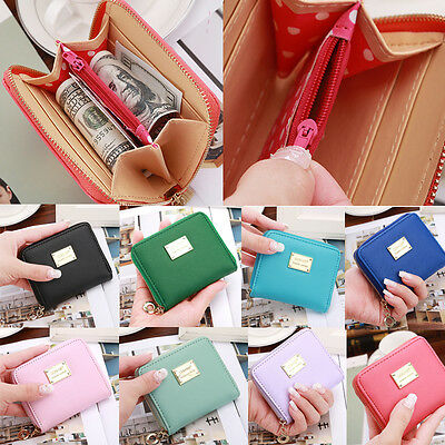 Fashion Women Leather Small Wallet Card Holder Zip Coin Purse Clutch Handbag
