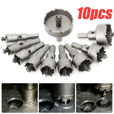 10Pcs Set 16~50mm Carbide Tip Drill Bit Hole Saw  Alloy Metal TCT Wood Cutter