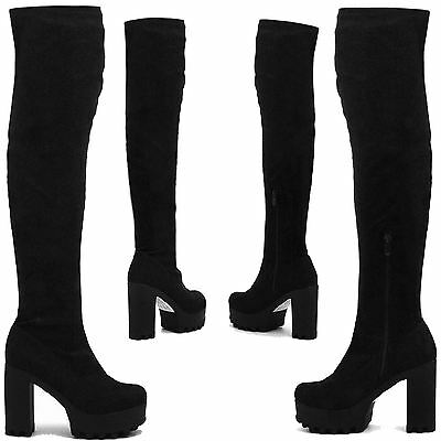 New Ladies Over The Knee Thigh High Womens Chunky Platform Heel Stretch Boots