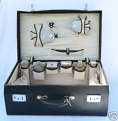 Antique Leather Travel Vanity Dressing Case Silver Grooming Set London 1938