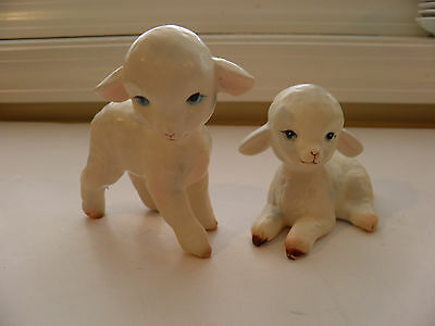 Pair Vintage Lefton Porcelain Easter White Sheep Lamb Figurines - Red Stickers