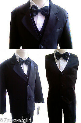 New Toddler Black Tuxedo with vest and bow tie Boy formal suit wedding size 3T
