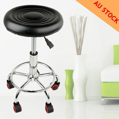 Black Hydraulic Adjustable Tattoo Salon Rolling Stool Facial Massage Spa Swivel