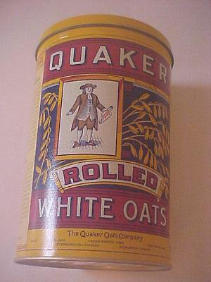 Nice Quaker Rolled White Oats Tin Canister - Replica Of 1896 Label