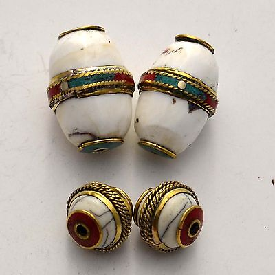 WS253 Nepalese Tibetan Handmade Brass Conch Shell Coral  4 Beads Wholesale lot