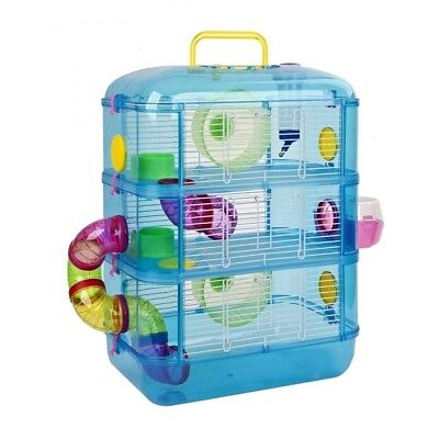 Blue Hamster Cage, 3 Story With Tubes, Gerbil Cage Pet World - Brand New!