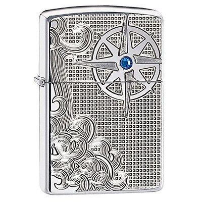 Zippo Nautical Waves Armour Case High Polished Chrome Windproof Lighter - Bra...