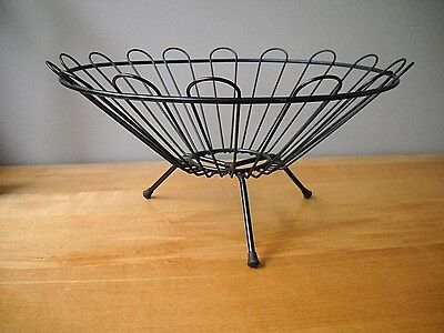 VINTAGE MID CENTURY MODERN METAL ART WIRE FRUIT BASKET BOWL eames era
