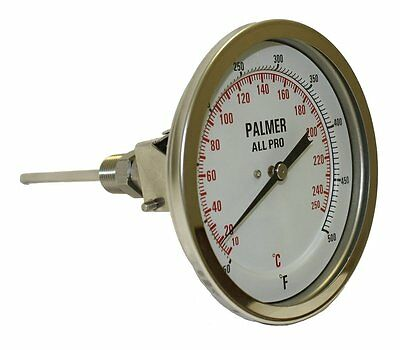 Palmer 5AP90/200F&C All Pro Welded Stainless Steel 304 Dual Scale Bimetal 0/200