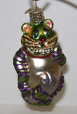 Blown Glass Old World Christmas ALice in Wonderland Cheshire Cat Tree Ornament