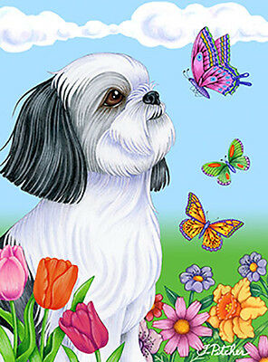 Large Indoor/Outdoor Butterfly (TP) Flag - Black & White Shih Tzu 98011