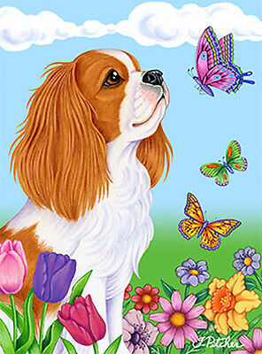 Large Indoor/Outdoor Butterfly (TP) Flag - Cavalier King Charles Spaniel 98055