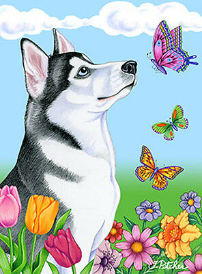 Large Indoor/Outdoor Butterfly (TP) Flag - Siberian Husky 98018