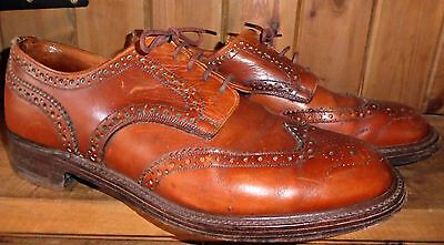 Vintage 80S David Scott Bench Made Punched Leather Wingtip Brogues Uk 12 Vgc