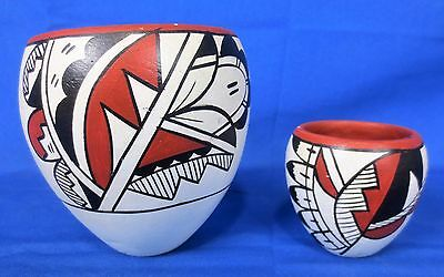 2 Vintage Hand Painted NATIVE AMERICAN INDIAN POTTERY BOWLS Lot #4