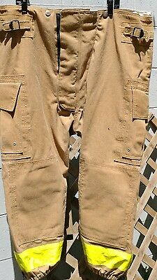 Vintage Globe Firefighter Pants Turnout Gear Mid Calf Elastic Bottoms 44 x 24
