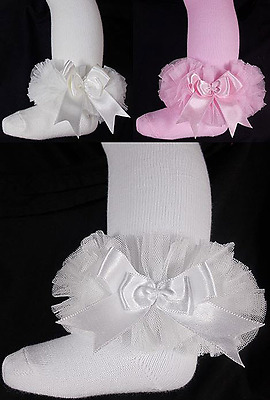 TUTU BOW tights baby girl Spanish style frilly