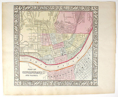 1866 Cincinnati, Mitchell Antique Hand-Colored Map