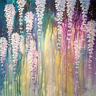 "Original Painting - wisteria flowers  - 27.5""x27.5"" acrylic /canvas  (unframed)"