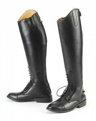 Horze Womens Ladies English Saddle Horse Riding Tall Leather Black Field Boots