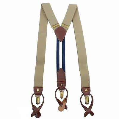Tommy Hilfiger Men's Khaki Solid Stretch Convertible Suspenders (One Size)