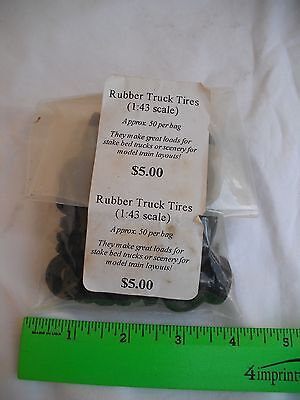 Lot of 50 Rubber Truck Tires, Black Wheels, 1:43 Scale, Freight Load, O Scale