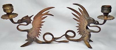 Fine Pair 2 Antique Chinese Bronze Winged Dragon Griffin Chamber Candle Stick