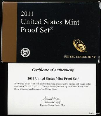 2011 U.S. Mint 14-pc PROOF Set +box & COA. COMPLETE with presidents & quarters