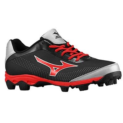 Mizuno 9-Spike Youth Franchise 7 Low Baseball Cleats NEW Black/Red Size 2