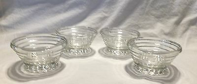 Set of 4 Vintage Clear Glass, Small Bowls