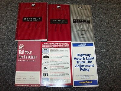 1995 Mercury Mystique Sedan Owner Owner's Operator Manual Set GS LS 2.0 2.5L V6