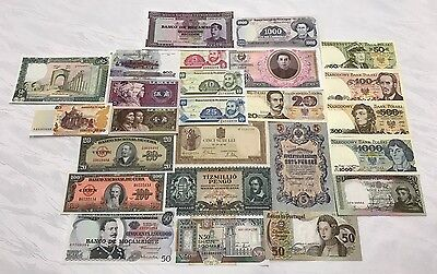 Lot Of (25) World Currency Paper Money!  All Unc!  All Genuine Banknotes!